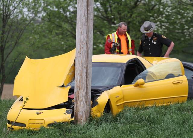 A Corvette crashed into a utility pole around 5 p.m. Saturday, May 12 on County Road 65 just north of its intersection with County Road 47. No other vehicles were involved in the accident. Minor injuries were reported. The Maplewood Fire Department and Perry Port Salem Rescue responded to the crash. The Shelby County Sheriff's Office is investigating the crash.