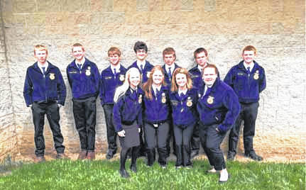 Fort Loramie FFA members who attended the state convention were, back row, left to right, Jordan Drees, Justin Puthoff, Austin Meyer, James Keller, Max Hoying, Austin Meyer and Cole Pence; and front row, Iris Ruhenkamp, Leslie Allen, Jenna Pleiman and Olivia Frey.
