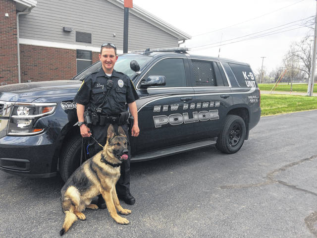 New Bremen Police Officer Justin Bruns has a new partner: K-9 Doc, who joined the force on April 27.