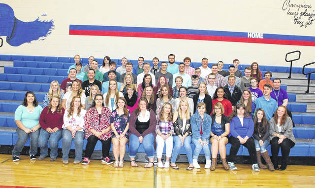 Members of the Riverside High School Class of 2018 are, front row, Tessa Allen, Mikenna Schneider, Brittany Robbins, Hannah Allen, Alexis Carnes, Makayla Dunn, Darian Boyer, Hayli Evans, Megan Hollinger, Madilynn Bost, Jovi Kieffer, Brianna Zimmerman and Rebekah King; second row, Kierstyn Severt, Payton Manahan, Ashley Plank, Marissa Davis, Alexa Plank, Kristin Davidson, Hailey Robinson, Alexis Snow, Kayla Biddle, Jadzia Cafe, Kearstin Courter and Evan Kauffman; third row, Joshua Ritzma, Jason Yoder, James Hudson, Lauren Anderson, Tatiana Trout, Ashland Stanley, Ciara Feasel, Graceanne Hawson, Matthew Smith, Caleb Stevens, Caitlyn Elliott, Joseph Renteria; fourth row, Logan Whaley, John Bryant, Quinlan Stobbe, Nicholas Hall, Brendan Lane, Andrew Racine, Gavin Stallard, Aaron Ropp, Christian Downing, Aaron Kean, Dakota Yoest and Kaylib Edwards; fifth row, Zachery Ford, Brittney Nielsen, Kaylyn Roby, Ryan Cron, Ethan Williams, Terry Stryker, Hunter Russell, Jacob McKee, Kody Allen, Kaleb Mescher, Matthew Neeley and Aubrie Stillings.