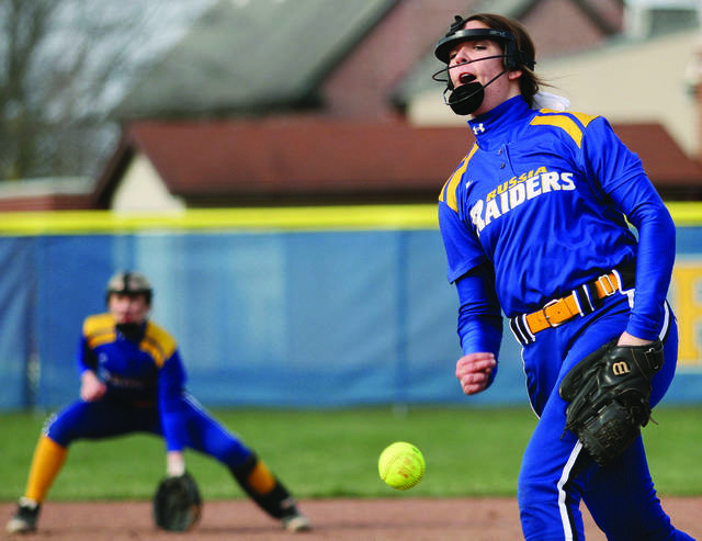 Russia's Grace Saunders throws a pitch during an SCAL game against Anna in April. Saunders, a senior, was named the SCAL player of the year.