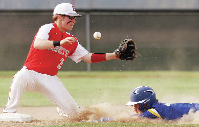 Lehman's Tyler Lachey slides safely into second as Elgin's Austin Gruber fields a throw during a Northwest Central Conference game in Marion on Wednesday.