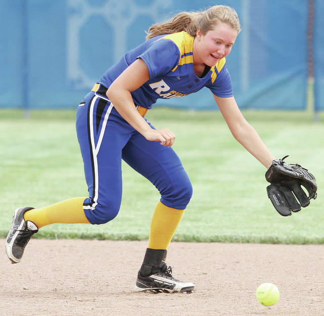 Russia's Jenna Cordonnier chases down a ground ball during a Shelby County Athletic League game at Russia on Saturday.