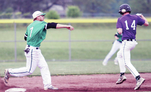 Anna's Aidan Endsley fires a throw past the head of Dayton Christian's Hunter Preston from second towards first during a Division III sectional final on Wednesday in New Carlisle.
