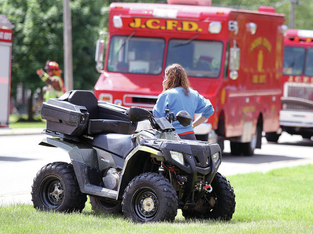 <p class=&quot;n_ 1 v1&quot;>Two Jackson Center High School seniors were ejected in four wheeler crash at the intersection of East Pike Street and Hudson Drive in Jackson Center around 2:17 p.m. Tuesday, May 20. The initial investigation indicates the male driver of a four wheeler was headed eastbound on East Pike Street and lost control when the four wheeler in front of him stopped short to turn south onto Hudson Drive. CareFlight was called but could not fly due to the weather conditions. Anna Rescue transported the female passenger to Lima Memorial Hospital. Her condition is unknown. Perry Port Salem Rescue transported the driver to Wilson Health. Botkins and Jackson Center Fire Departments and Deputies also responded to the scene. The Shelby County Sheriff&#8217;s Office is investigating.
