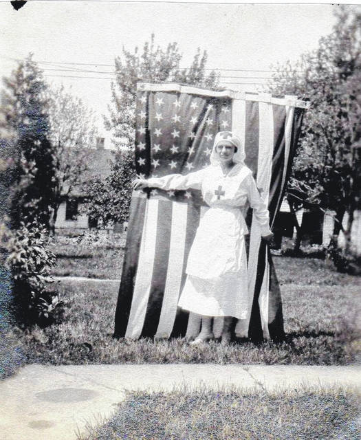 An unidentified Auglaize County woman demonstrates her support for the homefront effort during World War I.