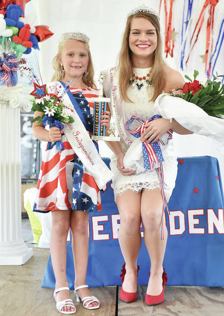 Rachel Meyer, left, 6, daughter of Jason and Chrissy Meyer, was crowned 2018 Little Miss Independence and Lydia Stricker, 17, both of Fort Loramie, daughter of Keith and Julie Stricker at Fort Loramie Liberty Days Friday, June 29.