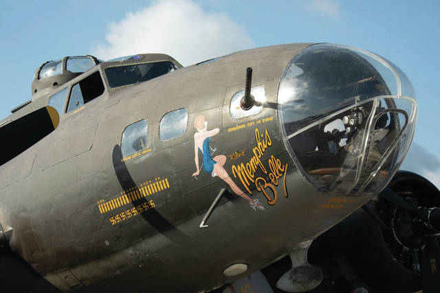 The B-17 Memphis Belle sits on display at the 2018 Vectren Dayton Air Show.