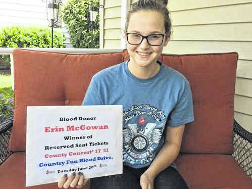 Erin McGowan was the proud winner of Country Concert tickets at the 2017 St. Michael's Hall Country Fun Blood Drive.