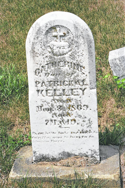 This is a tombstone in St. Thomas' Cemetery, Glynnwood, Ohio