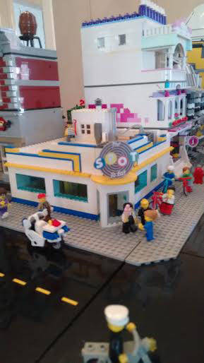 An iconic Sidney restaurant is recreated in Lego bricks in an exhibit in the Gateway Arts Council gallery.