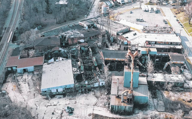 An aerial shot of the property of the dilapidating former Wagner Ware Manufacturing building at 440 Fair Road that was taken by a drone.