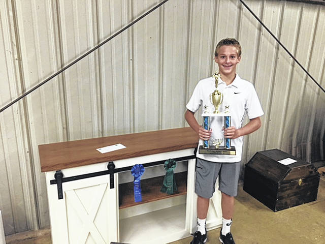 Nate Boerger, 14, son of Gina and Kevin Boerger, of Fort Loramie, won Outstanding of the Day and Best of Class for his woodworking project entered in the 2018 Shelby County Fair. He also qualified for the Ohio State Fair. He is a member of the Merry Mod Makers 4-H Club.