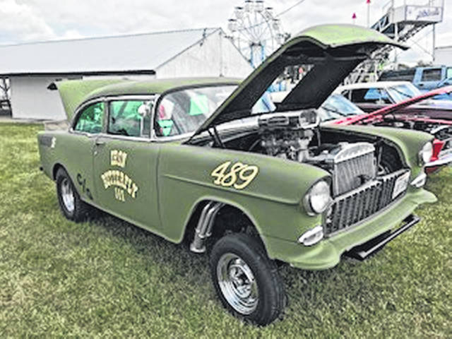 """This 1955 Chevy won the Anderson Family Choice plaque at the 22nd annual Dale Anderson Memorial Cruise-In at the 2018 Shelby County Fair. The owner listed his name as simply """"Gasser."""""""