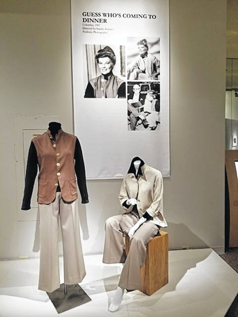 """Costumes worn by Katherine Hepburn in """"Guess Who's Coming to Dinner"""" are on display at Kent State University through Sept. 2."""