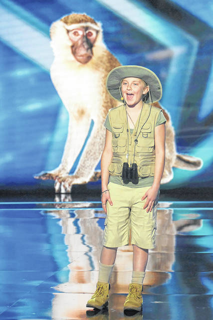 "Lilly Wilker, 11, daughter of Amy and Tom Wilker, of New Bremen, performs in an episode of NBC's ""America's Got Talent,"" which was taped in April and aired Tuesday, July 17. Wilker, in her second appearance on the show, was eliminated from the competition by the celebrity judges following her performance. She imitates animal sounds."