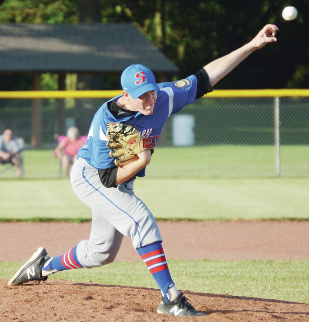 Sidney Post 217's Tyler Loudon pitches during an American Legion tournament game against Troy Post 43 on Tuesday at Custenborder Field. Louden threw six innings and allowed two hits.