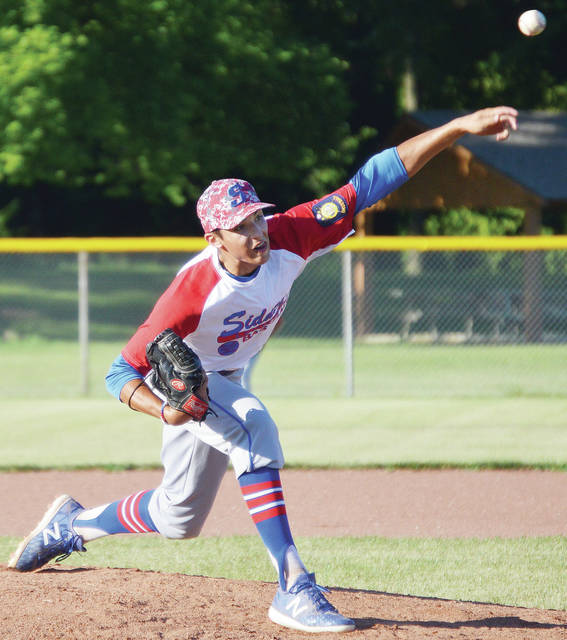 Sidney Post 217's Dan Kearns pitches against Van Wert Post 178 during an American Legion tournament game on Wednesday at Custenborder Field.
