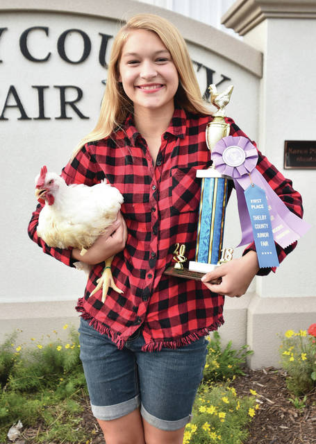 Alexandria Gaerke, 12, of Russia, daughter of Jason and Judie Gaerke, a member of Russia Livestock, won reserve grand champion meat pen of fryers at the fair.