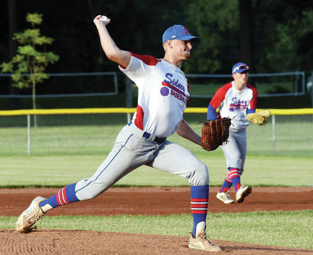 Sidney Post 217's Hunter Cohee pitches at Custenborder Field Monday.