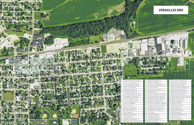 Versailles Village Council voted to establish a downtown redevelopment district. The areas numbered on the map show the newly formed district.