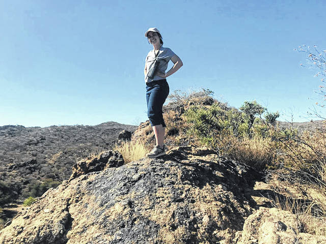 Jessica Witer, of Anna, at the top of a hill behind the house where she stays in Okahandja, Namibia. Witer is participating in a missionary trip there this summer.