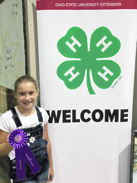 Avery Jackson, 11, daughter of Stephanie and Anthony Jackson, of Maplewood, was a state fair qualifier and won second place and the Dorothy Duncan Award in Food and Nutrition at the 2018 Shelby County Fair ad was named Outstanding of the Day for her Everyday Food and Fitness project at the 2018 Ohio State Fair. She is a member of Creative Clovers 4-H in Jackson Center.