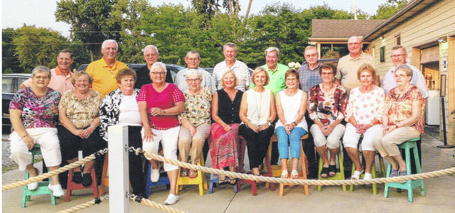 The Fort Loramie High School class of 1963 reunited, Aug. 4, 2018, to celebrate the 55th anniversary of their graduation. The reunion was at Morrie's Landing in Fort Loramie. Of the 34 graduates, seven are deceased. Pictured are, front row, left to right, Rosemarie Pierron, Doris Hoying, Judy Holtvogt, Sue Liening, Judy Grieshop, Phyllis Salyers, Doris Marchal, Jane Monnin, Carol Shatto, Helen Edwards and Wanda Barhorst. Back row, left to right, Paul Albers, Denny Boerger, Gary Bensman, Gerald Brunswick, Richard Sherman, Carl Wuebker, Don Bertke, Urb Holthaus and Lavern Schulze.