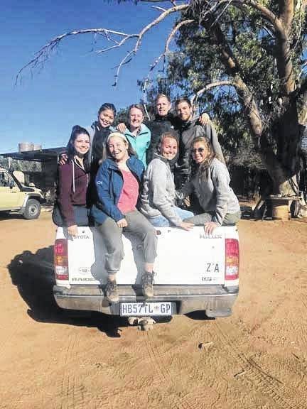 Jessica Witer, of Anna, her fellow missionary teammates head into town in Namibia.