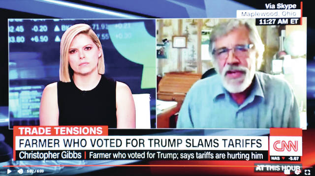 "Chris Gibbs, right, is interviewed by Kate Bolduan, left, during her program, ""At This Hour,"" on CNN television, Friday, Aug. 3. The photo is a screen shot of the broadcast."