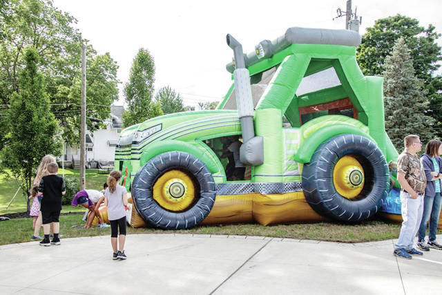 A tractor shaped bounce house at the New Bremen Firemen's Picnic recently.