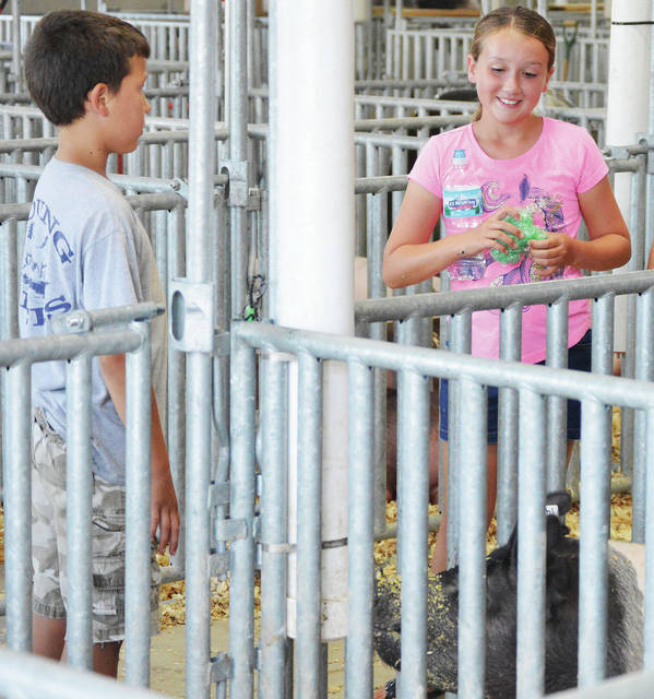 Kolton Thompson, left, 11, of Botkins, son of Keith and Tina Thompson, talks with Danielle Lininger, 10, of New Knoxville, daughter of Jason and Amanda Lininger, next to the pen holding Kolton's two barrows at the Auglaize County Fair Saturday, Aug. 4. Amanda showed rabbits and competed with her horses at the fair.