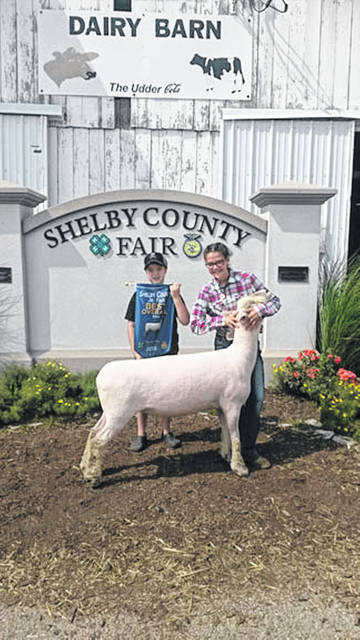 Avery Shoffner, 12, right, daughter of Jenni and Kevin Shoffner, of Anna, exhibited the Best Overall Ewe at the 2018 Shelby County Fair. She is a member of Anna Livestock 4-H. Holding the banner is her brother, Carson.