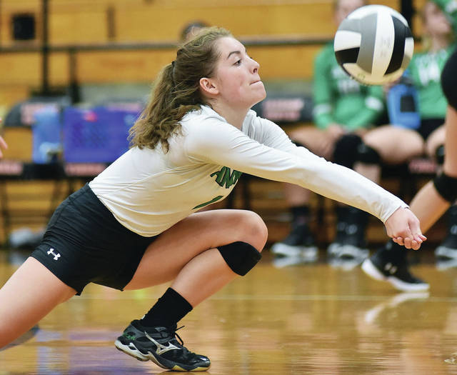 Anna's Abby Counts goes for the ball during a Shelby County Athletic League match on Tuesday in Jackson Center.