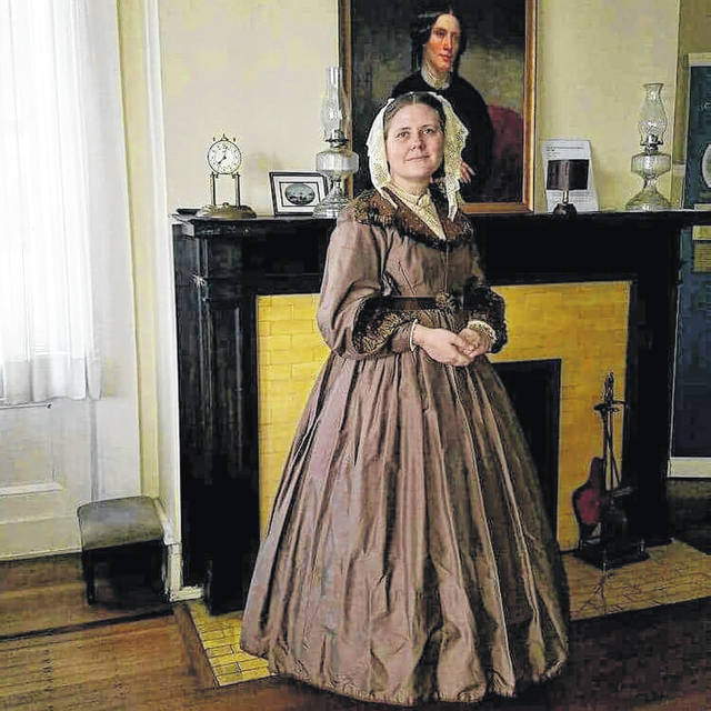 Dana Gagnon, pictured portraying famed author Harriet Beecher Stowe, will talk about the most famous of her books, Uncle Tom's Cabin at Sidney, Ohio's Civil War Living History Weekend on Saturday, September 15. She will return on Sunday, September 16 as Helen Peabody, the first President of Western College, now a part of Miami University.