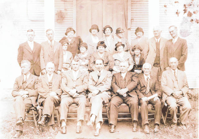 Early members of the Cedar Point United Brethren Church pose for a photo. This is the oldest photo in the archives of what is now the Pasco United Methodist Church. The man in the front row, second from right, is the grandfather of Mary Ellen Allenbaugh, of Sidney. He lived to be 105.