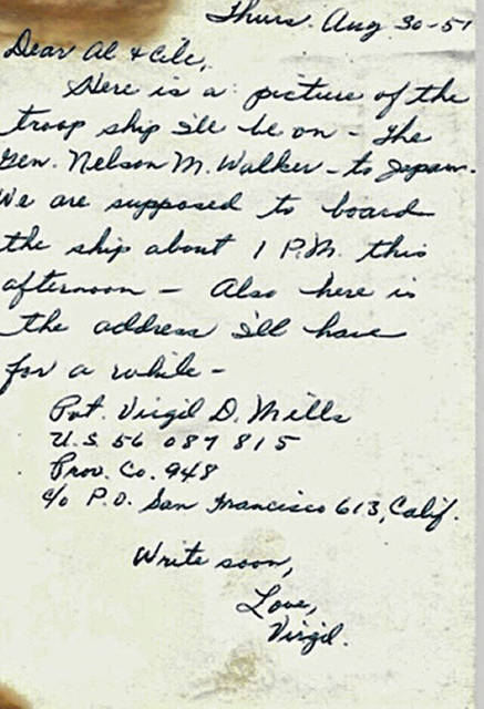 Virgil Mills, then of Oregon, wrote to his brother from a troop ship as he went off to fight in the Korean War.