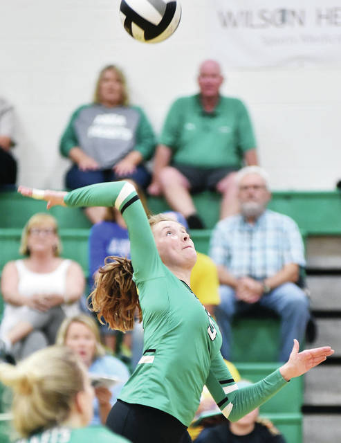 Anna's Sierra Williams prepares to spike the ball during a nonconference match on Saturday against Marion Local.