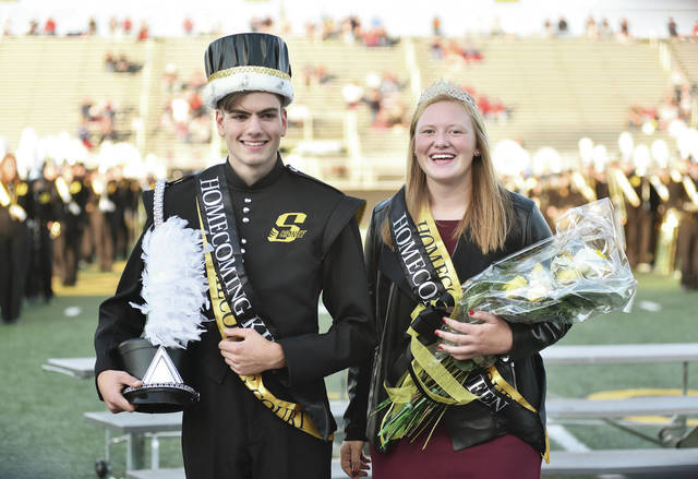 Colin Freistuhler, left, 17, son of Terry and Missie Freistuhler, and Emma Wiford, 17, both of Sidney, daughter of Andy and Jenn Wiford, were crowned homecoming king and queen Friday, Sept. 28.