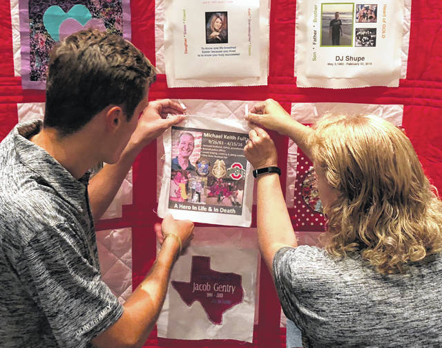 Kevin Fultz and his mom, Pam Fultz, made a quilt square in memory of her late husband/Kevin's father, Keith Fultz, and pinned it. The squares will be made into quilts and displayed at the next Donate Life Transplant Games. The quilts will also be used in traveling exhibits to promote awareness for the need for organ, eye and tissue donors.