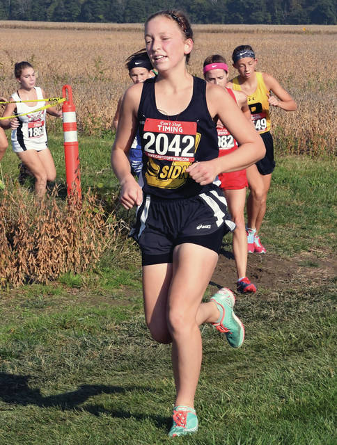 Sidney's Mariana Kellner keeps pace on Saturday during the Anna Invitational.