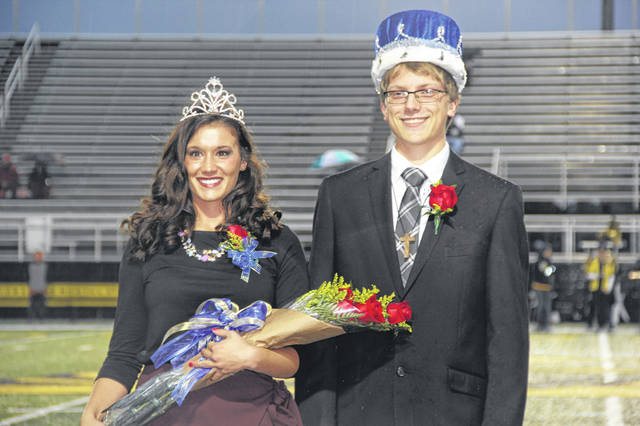 Samantha Edwards, daughter of John and Heather Edwards, of Sidney and Elias Bezy, son of Paul and Bree Bezy, of Sidney, were crowned Lehman Catholic High School's homecoming queen and king.