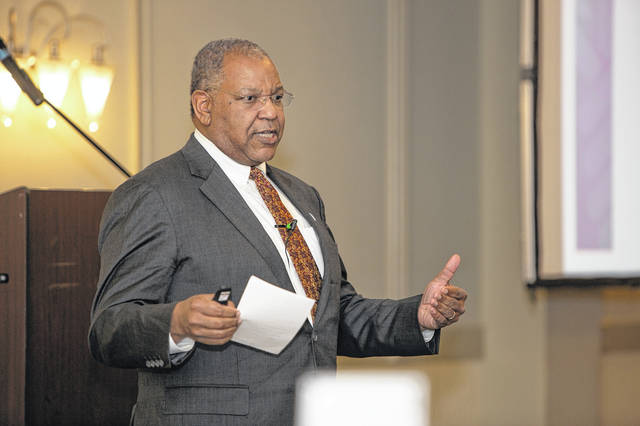 Dr. Otis Brawley, of the American Cancer Society, speaks at a symposium in Troy, recently.