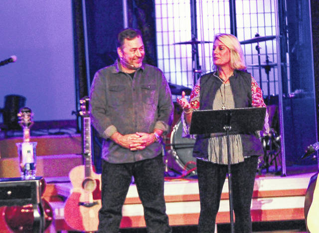 Al and Lisa Robertson share their life story during an event at Connection Point Church in Sidney Saturday night.
