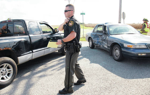 A pickup truck, left, driven by Andrew T. Cotterman, 24, of Jackson Center, collided with a car, right, driven by Dorothy L. Clayton, 80, of Quincy, around 3 p.m. Wednesday, Oct. 3, when Clayton failed to yield at the intersection of Meranda Road and state route 65 causing substantial side damage to the car. Only the two drivers were involved in the accident.