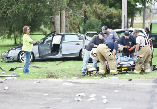 A car and pickup truck collided at the intersection of Fair Road and Lindsey Road shortly before 3 p.m. Wednesday, Oct. 10. One man was loaded into a Houston Rescue vehicle. The Lockington Volunteer Fire Department responded to the scene. The Shelby County Sheriff's Office is investigating.