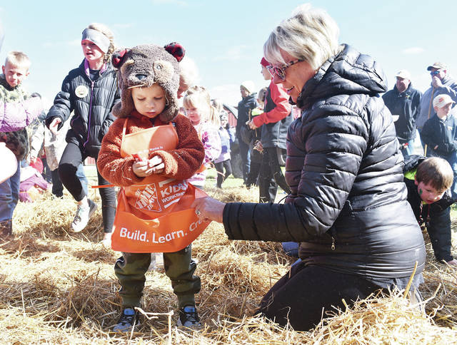 Carol Motter, right, of Fort Loramie, helps her grandson, Max Woehrmyer, 2, of Minster, son of Heather and Greg Woehrmyer, look for candy in a pile of straw during a scramble at Forestry Field Day, Sunday, Oct. 21. This year's event was at the Denny Ziegenbusch Farm near Fort Loramie and run by the Shelby Soil and Water Conservation District. Kids peeled apples, met Smokey Bear and learned about bees, among other activities.