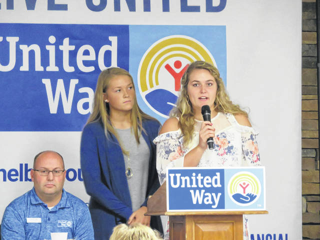 Grace Olding, left, of Lehman Catholic High School, and Grace Homan, of Botkins Local School, talk about the Student United Way during the September campaign kickoff. They are both seniors in high school.