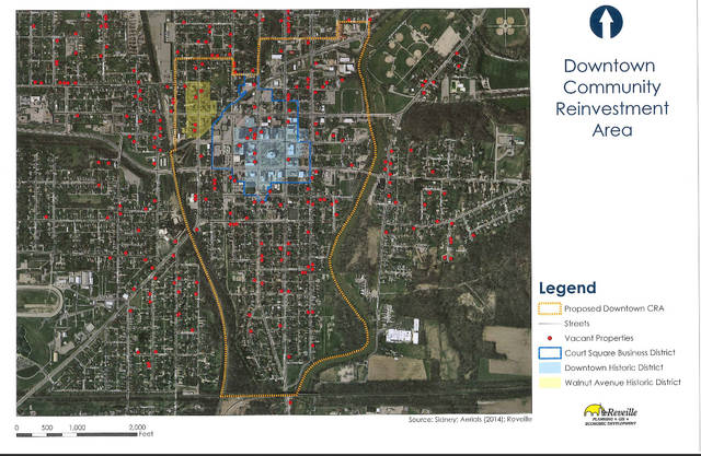 The revised boundary area of the downtown Community Reinvestment Area (CRA) which Sidney City Council adopted on Monday. Policy and the boundary revisions were made to incentivize downtown development.