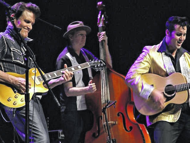 "Shawn Barker, left, as Johnny Cash, and Brandon Bennett, right, as Elvis Presley, perform with an unidentified bass player in ""One Night in Memphis."" The musical will be presented in New Bremen, Sunday, Nov. 4, by Lock One Community Arts."